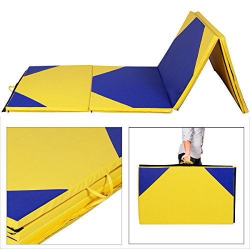 Giantex 4'x10'x2' Gymnastics Mat Thick Folding Panel For Gym Fitness with Hook & Loop Fasteners...