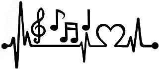 Musical Note Electrocardiogram Heartbeat Car Styling Window Laptop Sticker Decal - Black