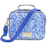 Lilly Pulitzer Blue Thermal Insulated Lunch Box for Women, Cooler Bag with Adjustable/Removable Shoulder Strap, Turtley Awesome