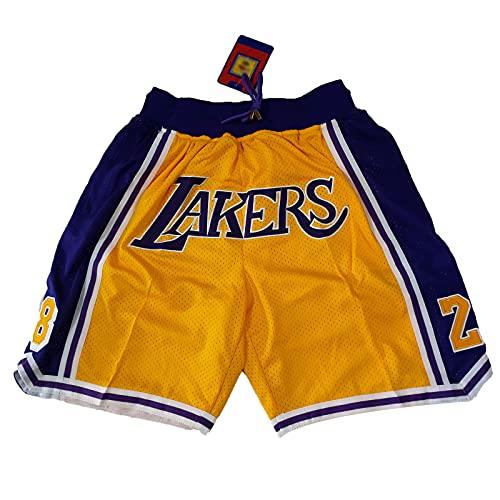 GAOXI Pantalones Cortos de Baloncesto de los Hombres, Pantalones Cortos de Baloncesto de Lakers Retro Comodidad de la Fama Pantalones Cortos Unisex, Swingman Shorts Yellow 1-S