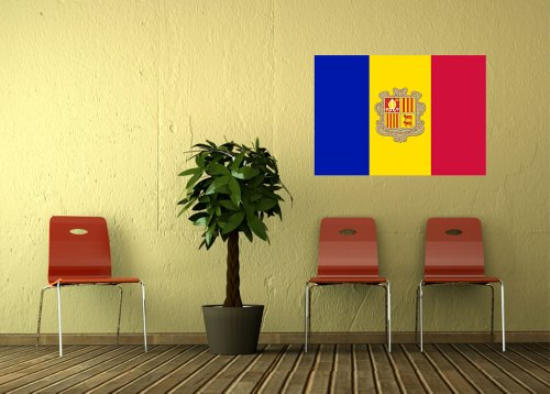 Kiwistar Wandtattoo Sticker Fahne Flagge Aufkleber Andorra 80 x 56cm