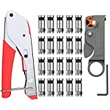 eSynic Crimping Plier Coax Cable Crimper RG59/RG6 F-Type Compression Crimping Tool with Rotary Coaxial Cable Cutter and 20 Pcs Crimp Connector Cable Locking Terminator Tool