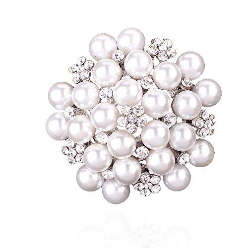 Elegant Pearl Floral Crystal Brooch…
