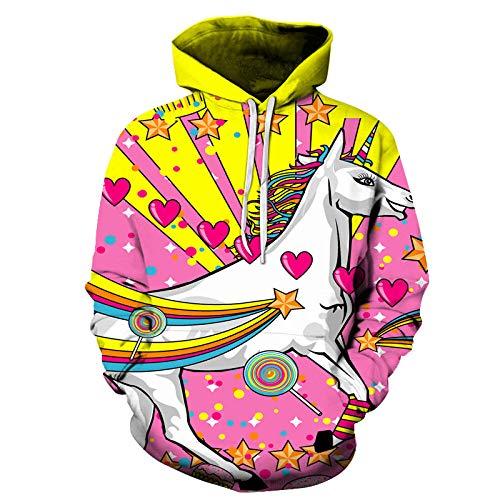WYxiaobaozi Suéter Impreso En 3D,Animal El Unicornio Blanco 3D Unisex Sudaderas para Estudiante El Hip-Hop Divertido Impreso Pullover Sudadera con Capucha Bolsillos Par Uniforme De Béisbol-XXL