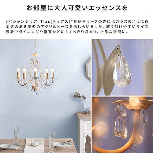 エア・リゾームシャンデリア照明LED電球対応5灯4畳用6畳用天井照明5灯シャンデリアTias(ティアス)