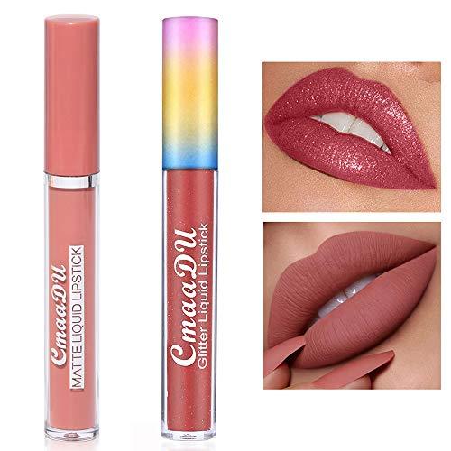 Matte Glitter Lip Gloss Makeup Set,Liquid Shimmer Lip Gloss,ong-Lasting Wear High Pigmented Non-Stick Cup Not Fade Waterproof Lip Gloss 2 colours (#2/#8)