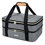 BABEYER Double Decker Insulated Casserole Carrier For Hot or Cold Food, Expandable Insulated Food Carrier for Picnic, Potluck, Party, Beach, Cookouts, Fits 9'X13' Baking Dish, Grey