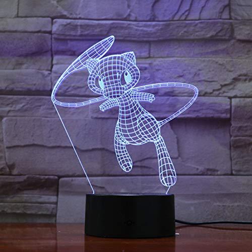 HNXDP Pokemon Lovely Mew Cartoon 3D Lamp 7 Color Led Night Lamps para niños Touch Led Usb Table Lampara Lampe Baby Sleeping Nightlight