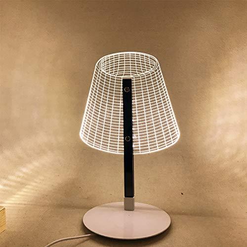 Mozhate Lampada da Tavolo a LED Effetto Legno Lampada da Tavolo in Acrilico con Supporto Lampada da Tavolo con Lampada USB,Warm Light