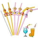 Pajas para beber animales, divertidas pajas de beber reutilizables pajas lindas para patos y monos para niños 6 piezas