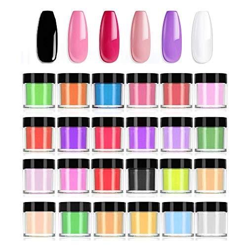 LINYU Poudre Acrylique pour Ongles, Poudre à Ongles, 24 Couleurs Ensemble Poudre Acrylique 3D Gel UV Poudre Ongles Glitter Crystal Nail Art Decoration