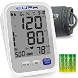 Blood Pressure Monitor Upper Arm Automatic Accurate BP Machine with Large Cuff 2*500 Sets Memory Large Screen Display Batteries and Carrying Bag Included for Home Travel Use