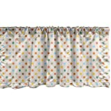 Lunarable Polka Dot Window Valance, Colorful Circular Design Classic Retro Motif with Diagonal Spots Pattern, Curtain Valance for Kitchen Bedroom Decor with Rod Pocket, 54' X 12', Yellow Beige