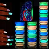 Polvo luminoso de 12 colores, polvo de pigmento oscuro, pintura luminosa, polvo fluorescente, polvo de brillo de uñas de fósforo de neón DIY para Halloween, maquillaje COS, maquillaje creativo, etc.