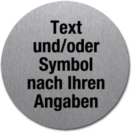 Informatiebord met gewenste tekst en/of -symbool, roestvrij staal, zelfklevend, Ø 5 cm