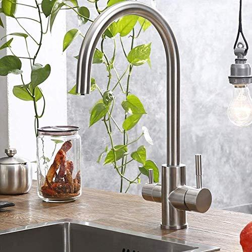 AXWT Mezclador de 3 vías Filtro de Agua Purificador de Agua Grifo de Cocina Agua Potable Grifo Grifo Grifo para lavamanos Taps 304 Faucet de Acero Inoxidable Grifo de Agua cepillada
