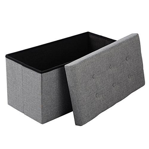 eSituro SOM0013 Sitzhocker Aufbewahrungsbox Fußhocker Sitzbank Sitzwürfel mit Stauraum Deckel Abnehmbar Leinen Hellgrau