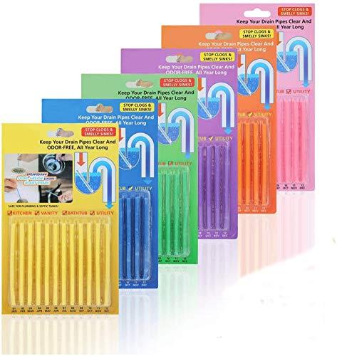 colmanda Drain Cleaning Sticks, 72 Stück Drain Cleaner Enzymreiniger Clean Rohrreiniger Drain Cleaning Sticks Rohrreinigungsstab für Badewanne Pipeline Waschbecken