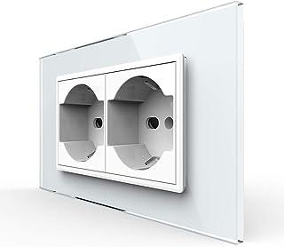 LIVOLO White IT Standard Presa a muro doppia presa presa moderna con pannello in vetro temperato, 904203711