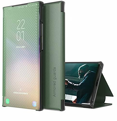 TYWZ Hülle für Samsung Galaxy S8 Plus,Flip Transluzent View Mirror Spiegel Schutzhülle Intelligenten Tasche Standfunktion Smart Cover-Grün