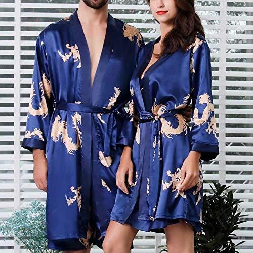 SHISAIGOU Simulation Silk Zweiteiliges Set Herren Nachthemd Weiblicher Sommer-dünner Abschnitt Paar Pyjamas Home Service Riemchen Baggy-Overall-Kleid-Overall (Color : Blue Men 2ps, Size : 4XL)