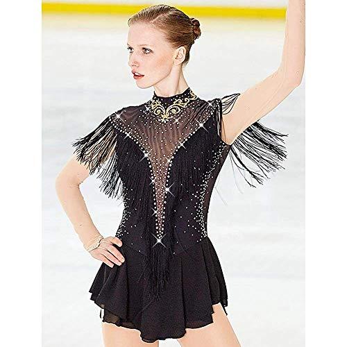 Hohe Elastizitauml;t Skating tragen handgemachte klassischen Kristall/Strass 3/4 Lauml;nge Auml;rmel Eislaufen Eiskunstlauf,XL