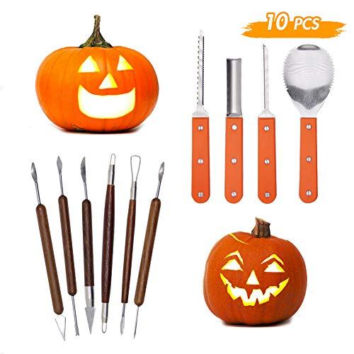 Lulu Home Halloween-Kürbis-Schnitzset, 10-teilig, professionelles Kürbis-Schneidzubehör für Jack-O-Lanterns mit Tasche