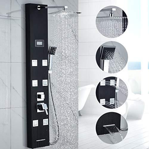 WHCCL Badkamer Douche Systeem met Temperatuur Display,regendouche, handdouche en 4 plaatsen lichaamsdouche, Zwart