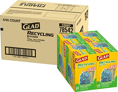 Glad Tall Kitchen Drawstring Recycling Bags  13 Gallon Blue Trash Bag  45 Count Pack of 4 Package May Vary