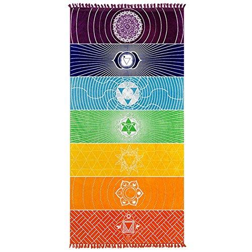 Mofeng Cotton Microfiber Fabric Bohemia India Mandala Beach Blanket 7 Chakra Rainbow Wall Hanging Tapestry Beach Towel Yoga Meditation Mat Bath with Tassels,59'x30'
