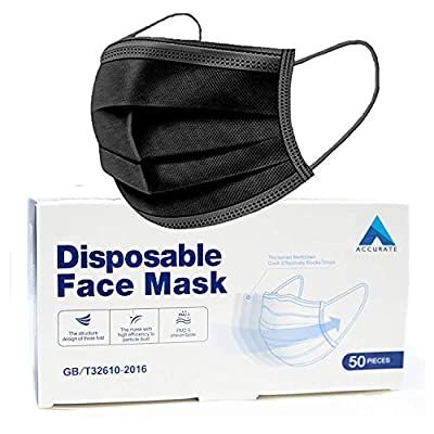 Accurate 50 PCS Black Disposable Face Masks | 3 Ply Earloop Face Covering with Nose Clip | Sutaible for Sensitive Skin50)