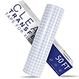 """Transfer Tape for Vinyl - 12"""" x 50 FT w/Blue Alignment Grid Vinyl Transfer Tape, Medium Tack Clear Transfer Tape for Self Adhesive Vinyl for Signs Stickers Decals"""
