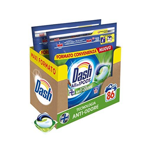 Dash All in 1 Pods Detersivo Lavatrice in Capsule, 86 Lavaggi (2 x 43), Tecnologia Antiodore, Maxi Formato, Per Tutti i Capi