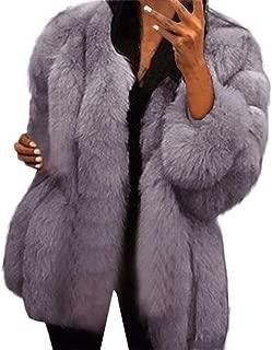 Aniywn Women's Long Sleeve Fluffy Faux Fur Warm Coat Winter Plus Size Open Furry Jacket Outwear