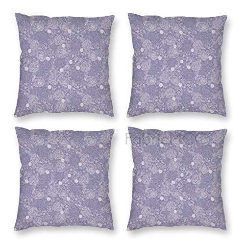 Pillow Covers 18 x 18 Inch Set of 4, Flower Shabby Form Lace Rose Flower with Classic Baroque Inspi Effects, Purplegrey Decorative Throw Pillow Case Cushion Cover for Sofa Couch Sofa Home Decor