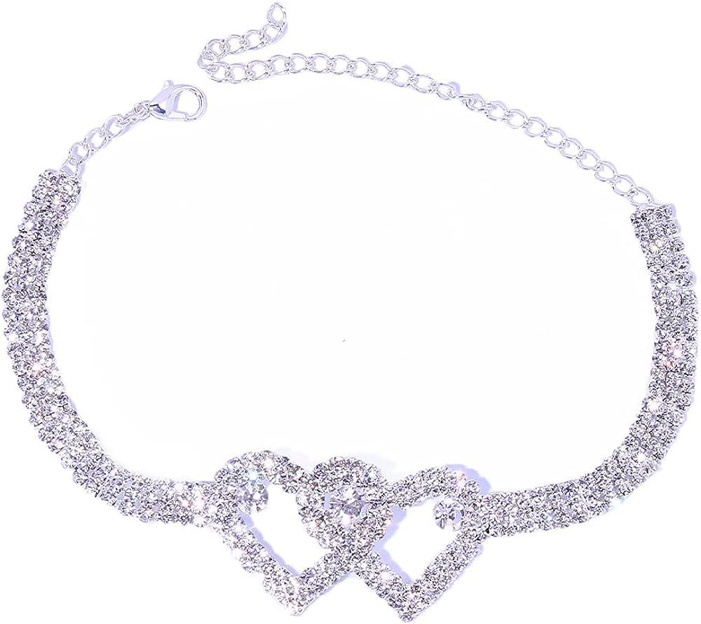 Stonefans Rhinestone Heart Ankle Bracelets for Women Girls, Crystal Tennis Anklet Bracelet Multi-Row Love Ankle Foot Jewelry Hip Hop Party Gifts