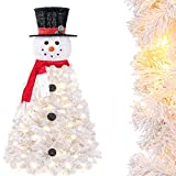 Yorbay Árbol de Navidad Artificial, Muñeco de Nieve Navidad, con Luces Led y Copos de Nieve Decoracion Navideña, Soporte en Metal, 120cm, Blanco