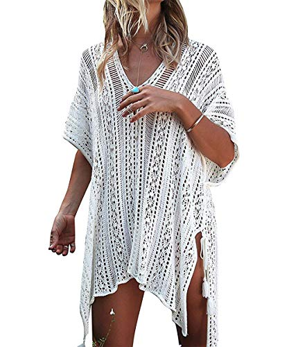 ShinyStar Damen Strandponcho Sommer Gestrickte Strandkleid Bikini Cover Up Boho Sommerkleid Weiß Einheitsgröße