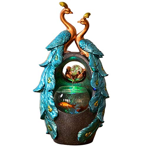 Creative Peacock Shape Water Fountain Indoor Fountains Aquarium Home Feng Shui Decoration Gift Office Desktop Small Tabletop Fountains Decorative Crafts (Color : Green, Size : 312357cm)
