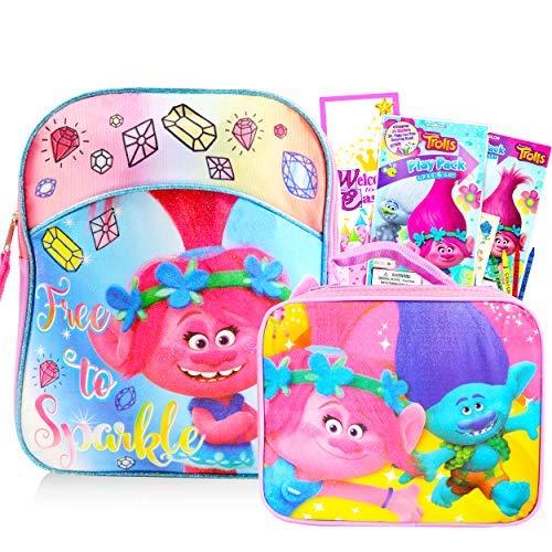 Trolls Backpack Toddler Preschool Bundle ~ Deluxe Trolls Mini Backpack (11') with Lunch Box, Door Hanger, Stickers, Activities and More (Trolls School Supplies)