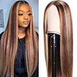 Beauty Forever Piano Color Ombre Highlight T Part Lace Wigs Silk Base Fake Scalp Wig for Women ,Brazilian Remy Human Hair Straight Closure Wigs Middle Part Pre Plucked 150% Density 4/12 Color 20 Inch