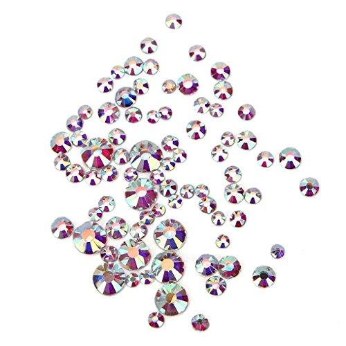 Aiming 1440PCS Silber Klarglas Strass Mix Größen Nail Art Strass Folie Rück Glitzer-Dekoration