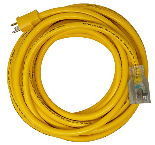 Coleman Cable 2618 20-Amp Generator Cord 5-20P to 5-20R, Lighted, 50-Foot