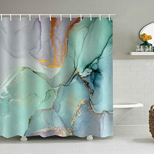 natu2eco Colourful Marble Shower Curtains for Bathroom Sets Fabric with 12 Hooks Watercolor Abstract Ink Paint Blue Green Jade Texture Purple and Gold Stripes Machine Washable Digital Printing Decor