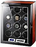 ZHENG Caja Relojes Automaticos Mira Enrollador For Relojes Automáticos con 12 Winder Posiciones Importado Mecánica del Motor De La Placa Giratoria Swayer, 4 Modos De Madera Caja De Reloj De Shell