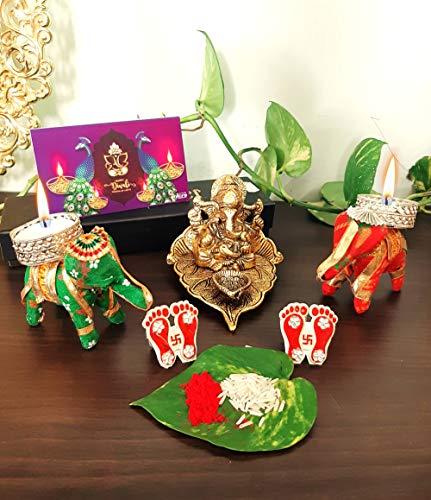 Shilcra Rajasthani Handicrafts Metallgott Ganesha mit Diya auf Blatt sitzend | Diwali Geschenkkarte Combo | Elefant T- Licht | Laxmi Ji Charan | Roli Chawal| für Festivals, Puja, Firmengeschenke