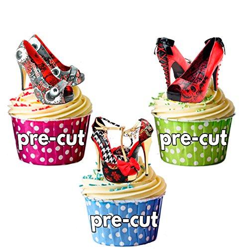 Noir 12 x & rouge gothique Punk Carte de chaussures en Papier comestible prédécoupé pour décorations de gâteau avec support de fixation