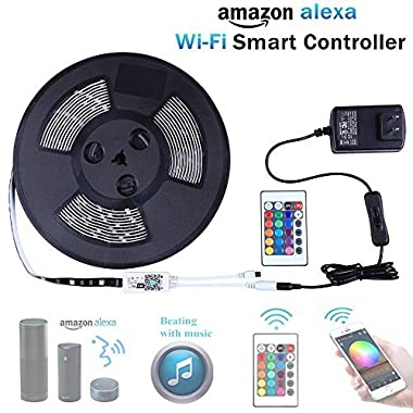 Miheal Led light strip,Wifi Wireless Smart Phone Controlled Strip Light Kit 32.8ft 300leds 5050 Waterproof IP65 LED Lights ,compatible with Android and IOS System,Alexa