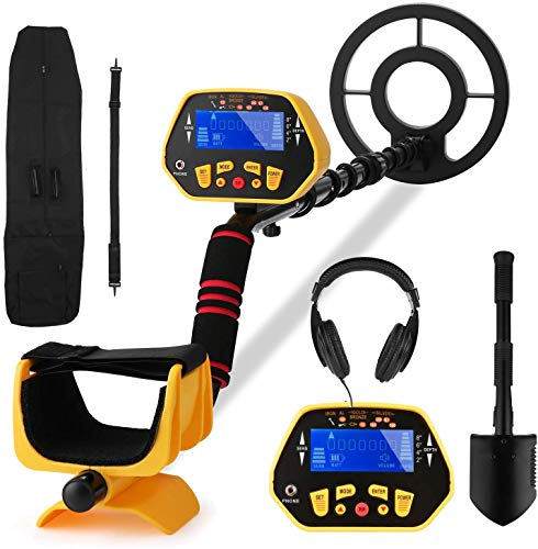 Metal Detector Adjustable (40.55'-47.24' ) Professional Metal Detectors for Adults and Kids [Disc & All Metal & Pinpoint Modes] LCD Display , IP68 Waterproof Search Coil with Headphone and Shovel