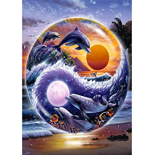 MXJSUA 5D DIY Diamond Painting by Number Kit Fulll Round Dril Beads Picture Supplies Arts Craft Etiqueta de la Pared Decoración Sun and Moon Dolphin 30x40cm